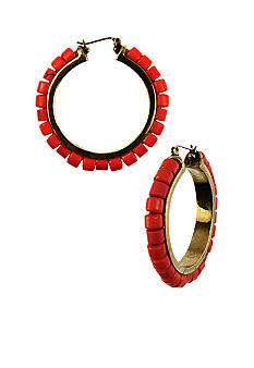 Nine West Vintage America Collection Pierced Beaded Click It Hoop Earrings