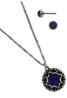 Nine West Vintage America Collection Carded Pendant Necklace And Stud Earring Set