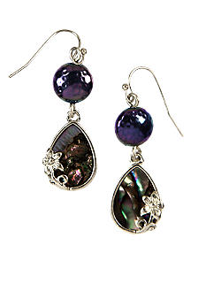 Nine West Vintage America Collection Genuine Abalone Drop Pierced Earrings