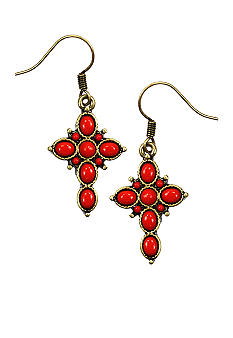 Nine West Vintage America Collection Cross Drop Earrings