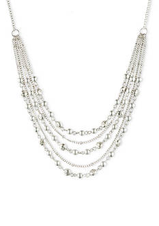 Nine West Vintage America Collection Silver-Tone Multi Row Frontal Necklace