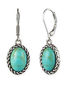 Nine West Vintage America Collection Worn Silver-Tone Turquoise Drop Earrings