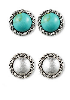 Nine West Vintage America Collection Turquoise Duo Button Earrings