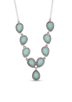 Nine West Vintage America Collection Silver-Tone and Seafoam Green Y Necklace