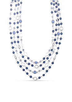 Nine West Vintage America Collection Silver-tone and Blue Double Row Necklace