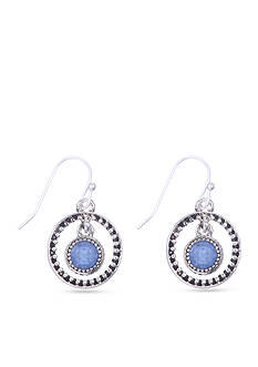 Nine West Vintage America Collection Silver-tone and Blue Orbital Leverback Earring