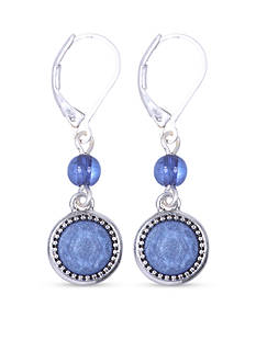 Nine West Vintage America Collection Silver-tone and Blue Leverback Drop Earring