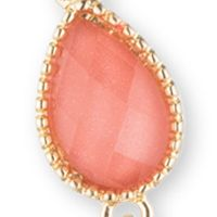Jewelry & Watches: Nine West Vintage America Collection Fashion Jewelry: Coral Nine West Vintage America Collection Goldtone and Coral Faceted Teardrop Frontal Y Necklace