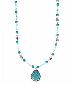 Nine West Vintage America Collection Silver-Tone Turquoise Bead Long Pendant