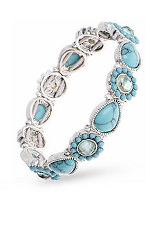 Nine West Vintage America Collection Silver-Tone Turquoise Stretch Bracelet