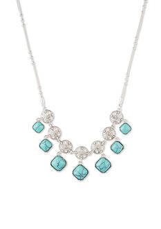 Nine West Vintage America Collection Silver-Tone Color Binge Collar Necklace
