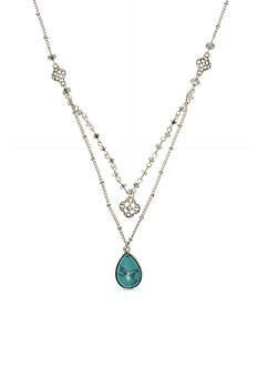 Nine West Vintage America Collection Silver-Tone Layered Glass Pendant Necklace
