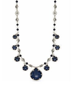 Nine West Vintage America Collection Silver-tone and Denim Blue Statement Drama Necklace