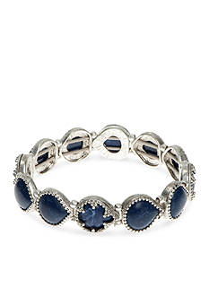 Nine West Vintage America Collection Silver-Tone Blue Stretch Bracelet
