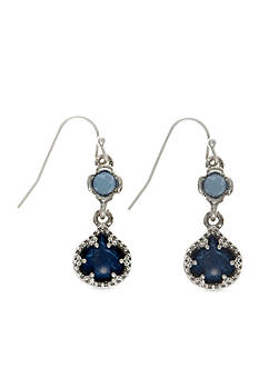 Nine West Vintage America Collection Silver-Tone Blue Double Drop Earrings