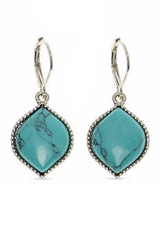 Nine West Vintage America Collection Worn Silver-Tone and Turquoise Lever back Drop Earrings