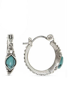 Nine West Vintage America Collection Silver-Tone and Turquoise Huggie Hoop Earrings