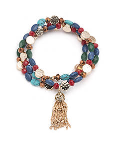 Nine West Vintage America Collection Gold-tone Multi Colored Beaded with Tassel Stretch Bracelet
