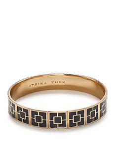 Trina Turk Palm Springs Gold-Tone Black Block Bangle Bracelet