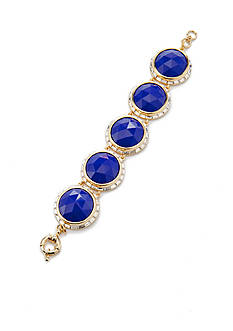 Trina Turk Gold-Tone Blue Faceted Stone Bracelet