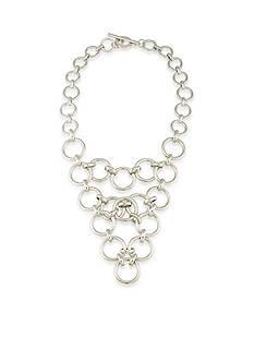 Trina Turk Silver-Tone Round Link Statement Necklace