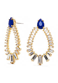 Trina Turk Gold-Tone and Blue Crystal Drop Earrings