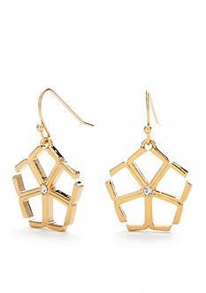 Trina Turk Gold-Tone Open Floret Drop Earrings