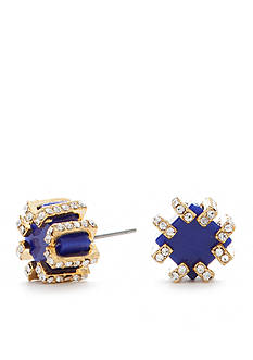 Trina Turk Gold-Tone Crystal Accent Blue Stone Stud Earrings