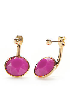 Trina Turk Front-and-Back Stone Drop Dark Pink Earrings