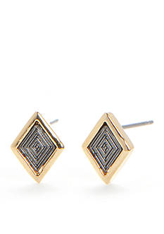 Trina Turk Diamond Shaped Mixed Metal Stud Earrings
