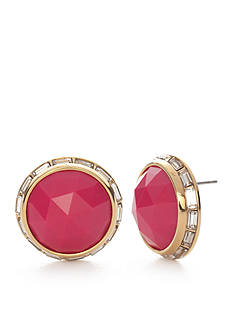 Trina Turk Pink Faceted Button Earrings