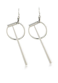 Trina Turk Silver-Tone Long Geometric Linear Drop Earrings