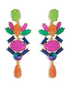 Trina Turk Gold-Tone Multi-Colored Chandelier Linear Earrings