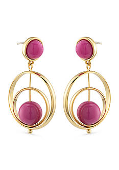 Trina Turk Gold-Tone Purple Gypsy Double Drop Earrings