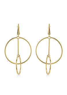 Trina Turk Gold-Tone Retro Mod Double Ring Drop Earrings