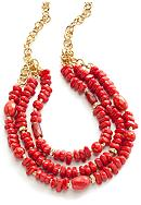 New Directions® Three Row Coral Beaded Necklace