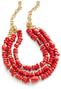 New Directions Three Row Coral Beaded Necklace