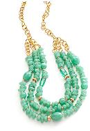 New Directions® Three Row Seafoam Beaded Necklace