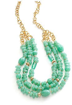 New Directions Three Row Seafoam Beaded Necklace