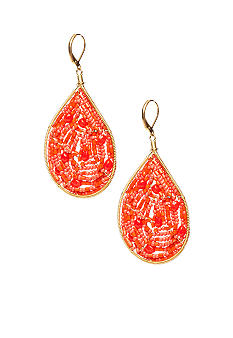 New Directions Coral Beaded Teardrop Earrings