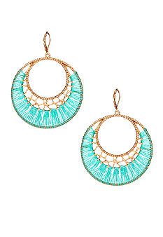 New Directions Seafoam Thread Wrapped Hoop Earrings