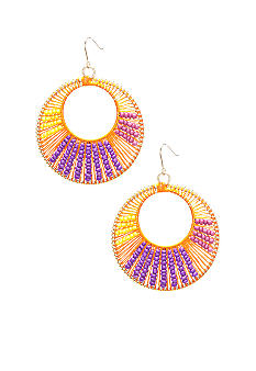 New Directions Seed Bead Threaded Hoop Earrings