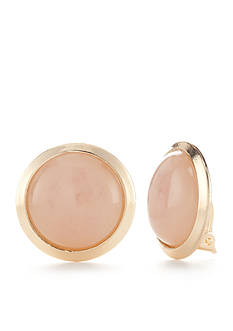 New Directions Gold-Tone Pur Blush Button Clip Earrings