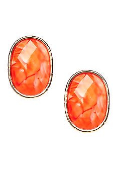 New Directions Coral Crackle Clip Earrings