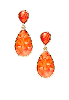New Directions Coral Double Teardrop Earrings
