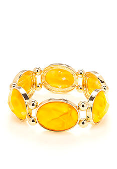 New Directions Yellow Crackle Stretch Bracelet