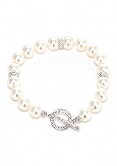 Nadri Pearl and Crystal Toggle Bracelet