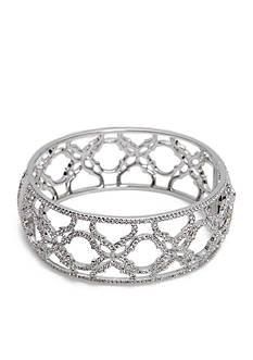Nadri Silver-Tone Mandala Bangle Bracelet