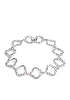 Nadri Silver-Tone Mandala Chain Bracelet