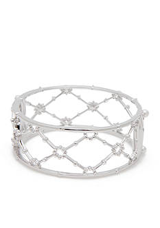 Nadri Silver-Tone Isolde Pearl Criss Cross Bangle Bracelet